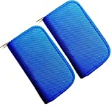 HCSTAR Memory Card Holder SD Card Carrying Case 8 Pages and 22 Slots Waterproof Zippered Storage Bag Set of 2,Blue