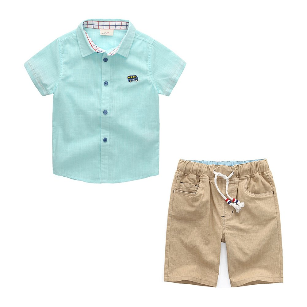 Motteecity Boys Clothes Adorable Embroider Bus Short Sleeves Shirts and Elastic Pants Sets