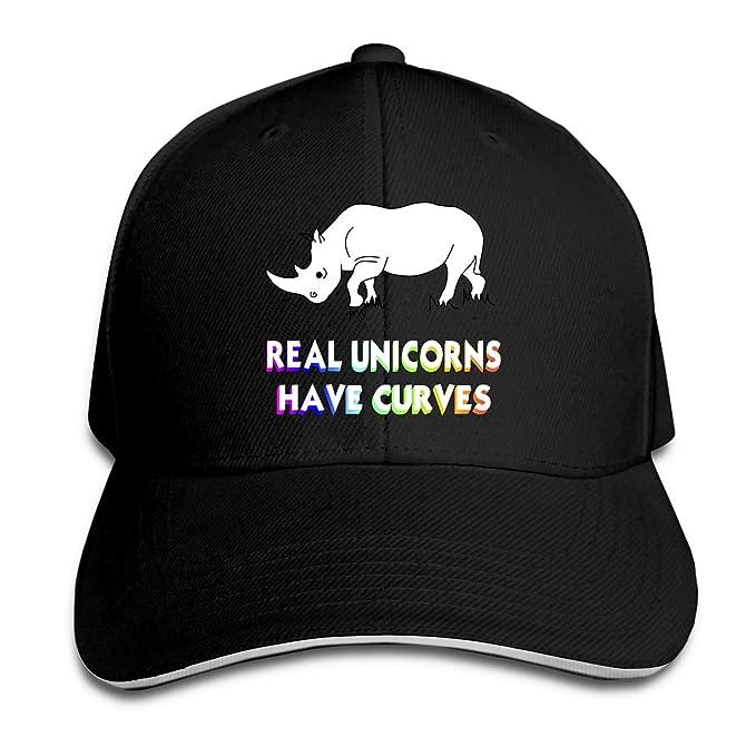 2be0b0f5b8c Unisex Casual Real Unicorns Have Curves Rhino Peak Cap Cotton Duckbill Cap  for Unisex Black