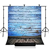 Julius Studio Photo Studio 7.5 x 10 ft. Adjustable Background Support Stand, Backdrop Support System Kit with 5 x 10 ft. Vintage Blue Wood Floor Backdrop, JSAG361