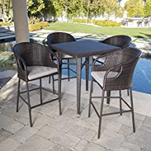 Domina Outdoor 5 Piece 41 Inch Multibrown Wicker Square Bar Set with Light Brown Water Resistant Cushions