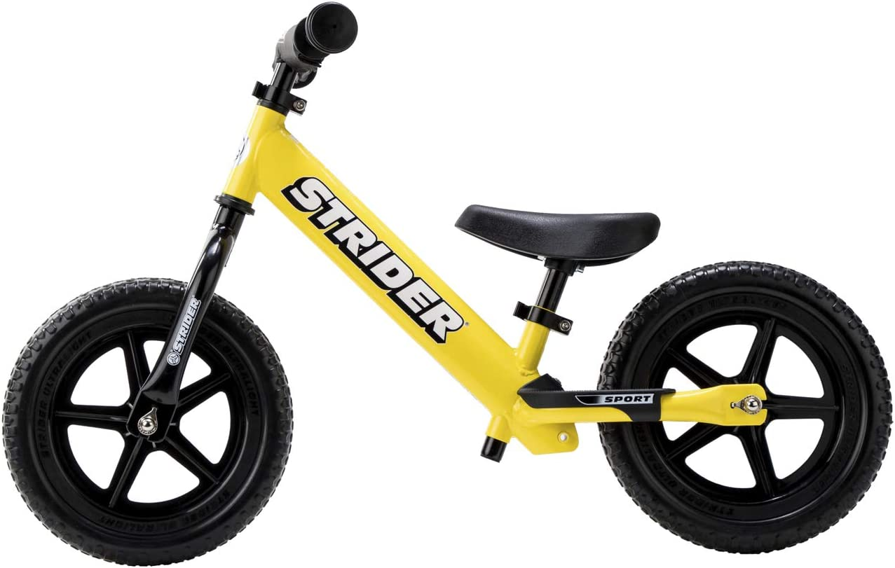 Strider 12 Sport - Bicicleta sin Pedales Ultraligera - para niños de 18 Meses, 2,3, 4 y 5 años, sillín Ajustable, 12 Pulgadas (Amarillo): Amazon.es: Juguetes y juegos