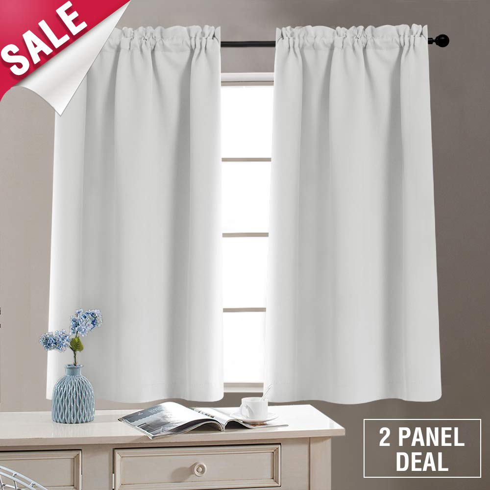 Tier Curtains Blackout Window Curtain Tiers Room Darkening Tiers for Kitchen Windows 40 Inches, Rod Pocket, 2 Panels, Tie Backs Included, Greyish White