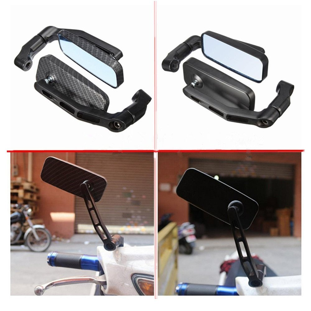 DLLL Carbon Universal 8mm 10mm Motorcycle Aluminum Rectangle Blind Spot Blue Rearview Side Mirror Fits Harley Davidsons,Suzuki,Honda,Kawasaki Cruisers,Touring Bikes,Sport Bike,Cafe Racers