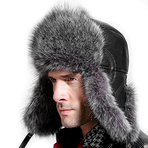 Super Trooper Costumes Canada (Superior Quality Outdoors Trapper Hat Ear Flap Cap Long-Wool Windproof Thicken Snow Hunting Hat Winter Elderly Black)