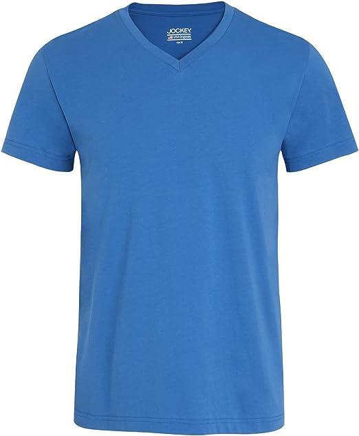 Camiseta Jockey Jersey De Algodón Con Cuello En V Hombres, Azul: Amazon.es: Ropa y accesorios