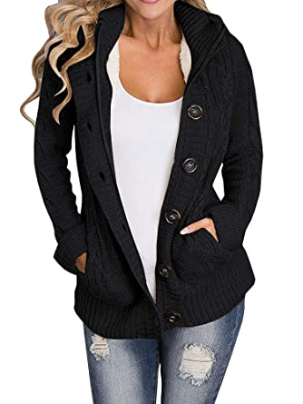 f7affda020b Yacooh Womens Cardigan Sweaters Cable Knit Open Front Hooded Button Down  Sweater Coat Black