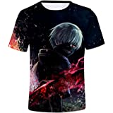 Tokyo Ghoul T-Shirt Unisex Estampado 3D Top Sudaderas de Sport Manga Corta Blusa Camisetas