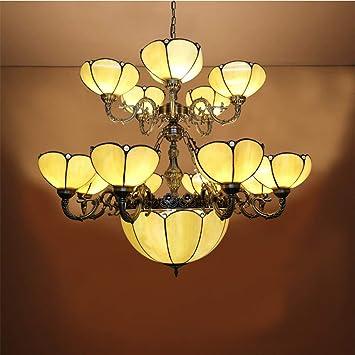 LIXDD Grandes lámparas de Tiffany, lámpara con Forma Floral ...