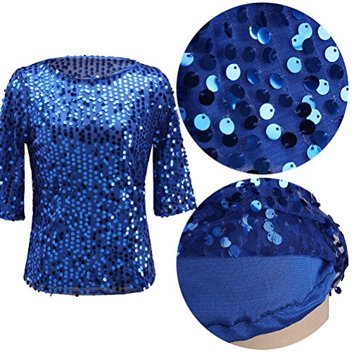 Zhhlaixing Fashion Women's Sequins Casual Sleeves T-shirts Short Style Shimmer Sequin Embellished para Pretty Girl Blue
