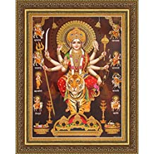 Avercart Goddess Amba / Ambaji / Ambika / Sheravali / Maa Ambe with 9 forms of Durga (Nav Durga) Poster 30x40 cm with Photo Frame (12x16 inch framed)