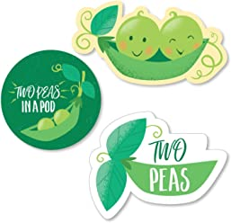 Big Dot of Happiness Double The Fun - Twins Two Peas in a Pod - DIY Shaped Baby Shower or First Birthday Party Cut-Outs - 24 Count