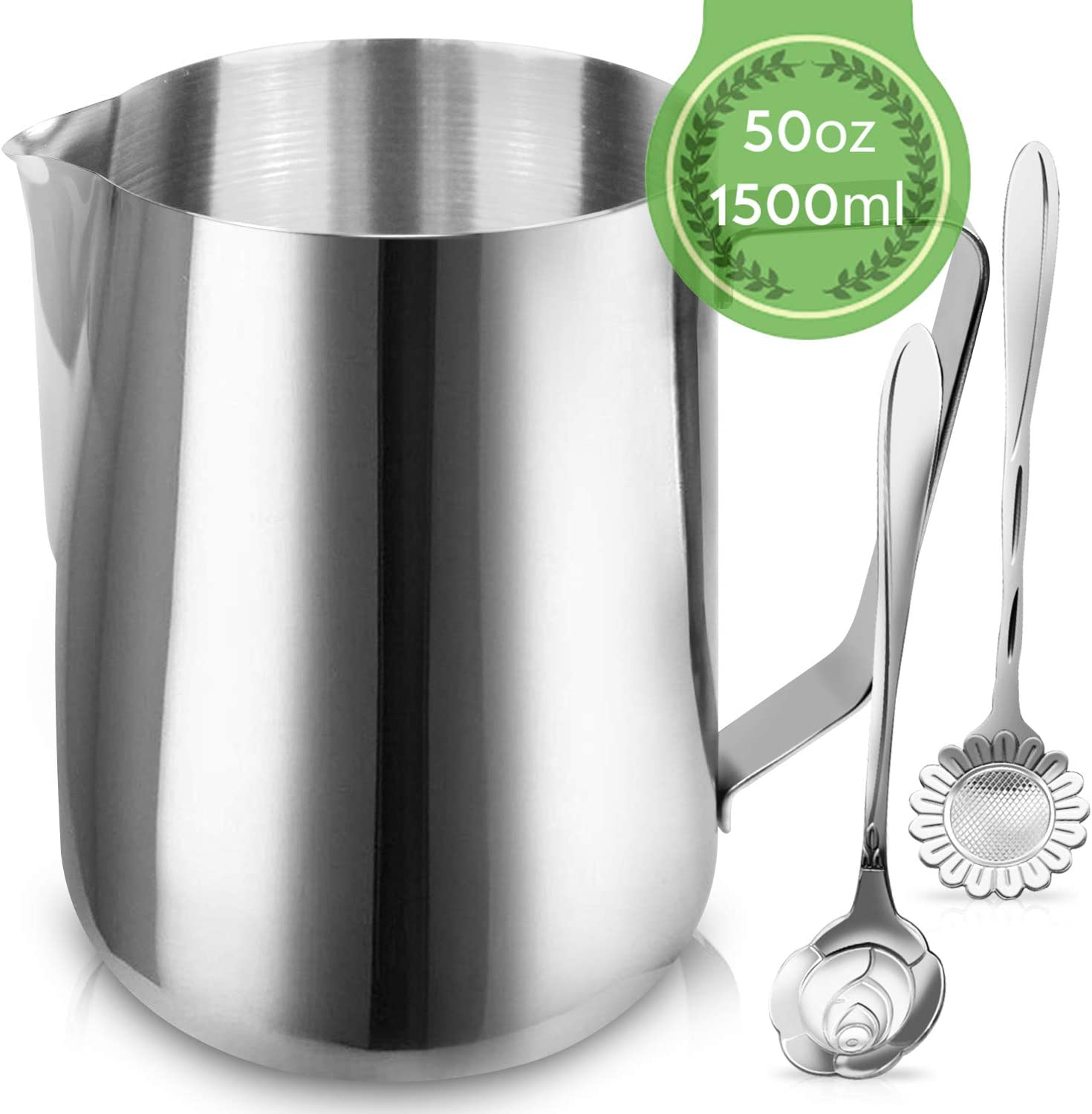 Milk Frothing Pitcher Jug - 50oz/1500ML Stainless Steel Coffee Tools Cup - Suitable for Espresso, Latte Art and Frothing Milk, Attached Dessert Coffee Spoons