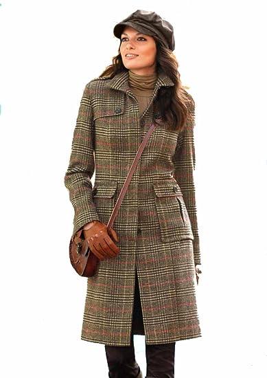 930d8cf542c Aniston Damen-Mantel Wollmantel kariert Braun Größe 42  Amazon.de ...