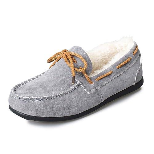 Mocasines Planos para Mujer Zapatos cómodos con Cordones Flock Tela de algodón Ronda Guisantes Casuales Antideslizantes Zapatos de Barco al Aire Libre: ...