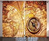 Ambesonne Antique Decor Curtains, Compass On An Ancient World Map Historic Borders Century-Old Antiquity, Living Room Bedroom Decor, 2 Panel Set, 108 W X 84 L Inches