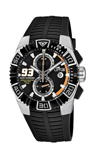 Lotus Marc Márquez 15836/1 - Reloj cronógrafo de cuarzo para hombre con correa de caucho, color negro: Amazon.es: Relojes