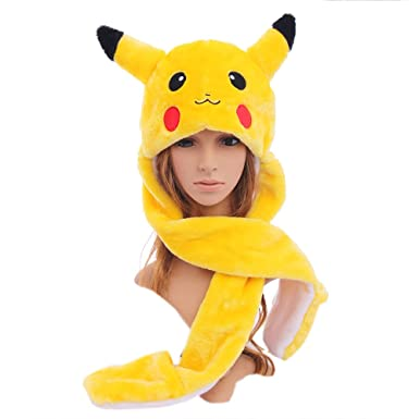 Eastreetshop Pikachu Faux Fur Hat Animal Plush Fluffy Earmuff Mitten ... a830707ee1d