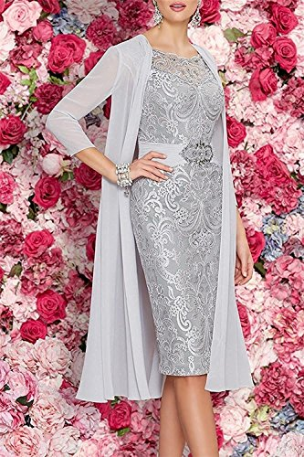 Pieces Mother The Tea of with APXPF Silver Two Bride Jacket Length Dresses Women's w6ZqZxAzU