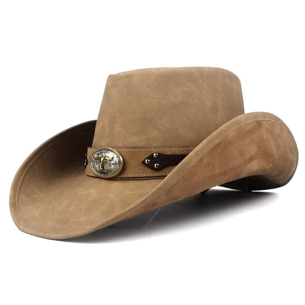 MUMUWU Women Men Western Cowboy Hat Fashion Leather Gentleman Fedora Hat Roll Up Brim Sombrero Hombre Jazz Caps (Color : Khaki, Size : 58-59)