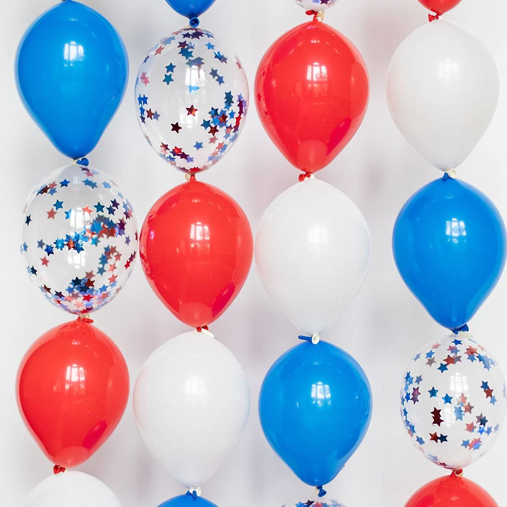 Riles & Bash Red White and Blue Link Balloons - 4th of July Balloons - Patriotic 101 Piece 6