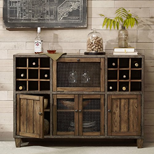 Industrial Rustic Vintage Liquor Storage Wine Rack Cart Metal Frame with Drawers and Doors Storage in Reclaimed Wood Finish Sideboard Buffet - Includes Modhaus Living Pen - Vintage Liquor Cart