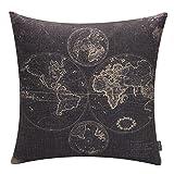 TRENDIN 18'' X 18'' Vintage Black World Map Cotton Linen Throw Pillow Case Cushion Cover (PL017TR)