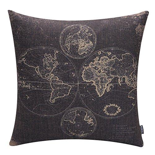 TRENDIN 18'' X 18'' Vintage Black World Map Cotton Linen Throw Pillow Case Cushion Cover (PL017TR) by TRENDIN