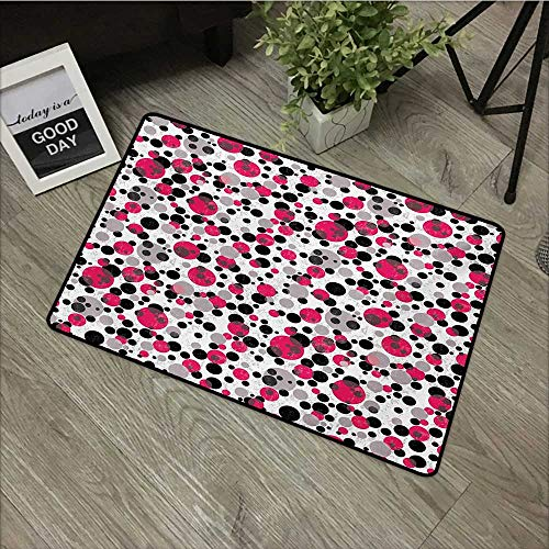 Printed Door mat W19 x L31 INCH Pink and Grey,Bubbles Circle Dots Retro Style Abstract Round Grungy Nostalgic Image,Grey Pink Black Non-Slip, with Non-Slip Backing,Non-Slip Door Mat Carpet ()