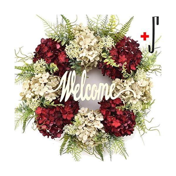 Summer wreath for front door,Spring Wreath for Front Door welcome hello Handmade Wreath,hydrangea wreaths for front door,outdoor fall wreaths for front door,winter letter wreaths for front door wreath