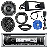 Kenwood Marine Digital Media Bluetooth Receiver, 2x Kicker 600-Watt 6.5'' Black Speakers, 1998-2013 Harley Speaker Mounting Ring Adapter, Single-DIN Stereo Installation Kit, 50 FT 14 AWG Wire, Antenna