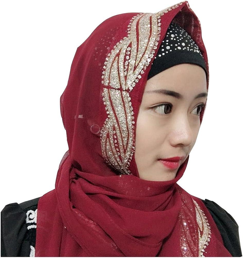 UK/_Stone Damen Chiffon Einfarbig Muslimische Hijab Kopftuch Kopfbedeckung Islamischen Hijab Schal Indische Turban-H/üte Turbanm/ütze mit Champagner Muster