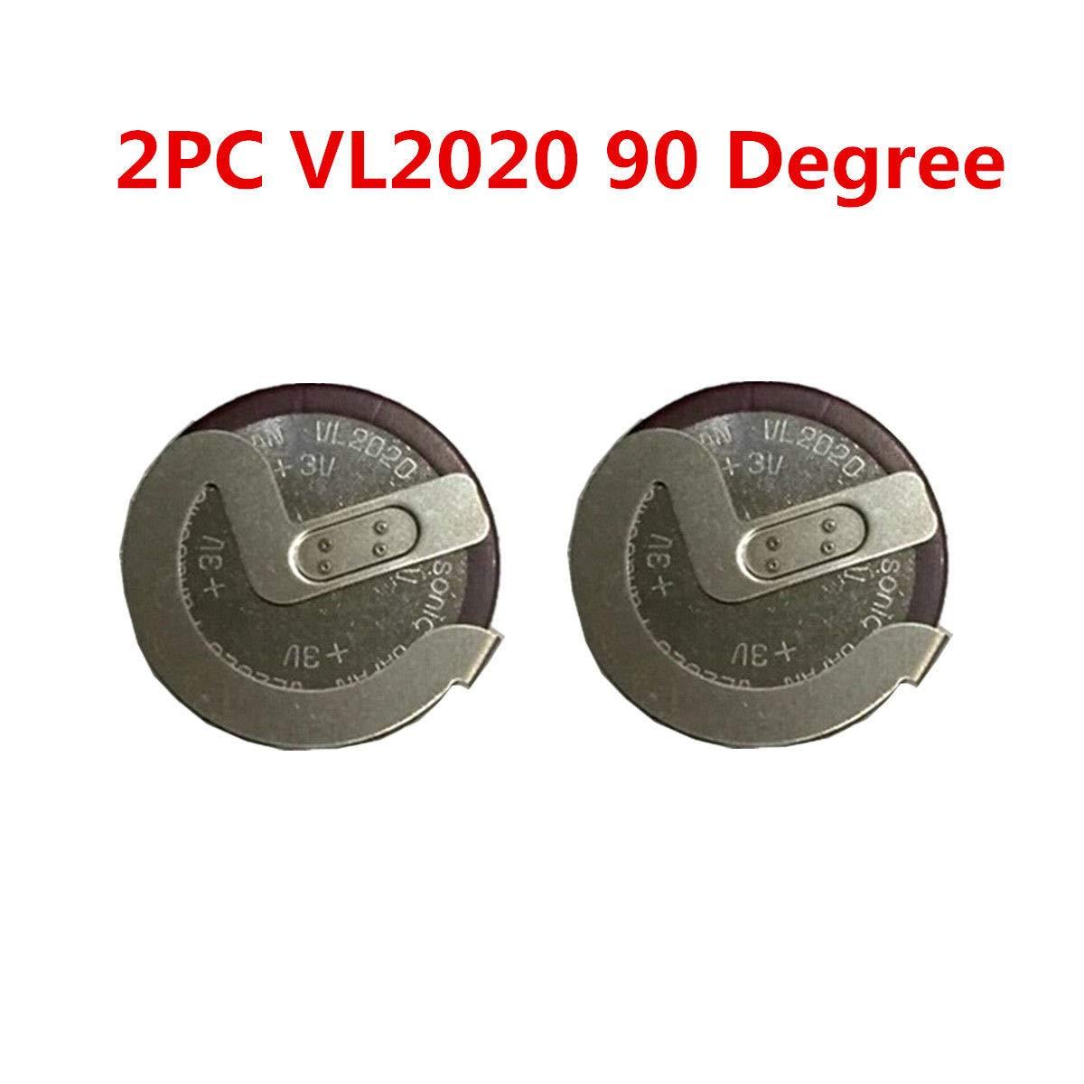 FidgetKute 2PCS VL2020 for BMW Key Case Shell Fob Rechargeable Button Battery 90° by FidgetKute