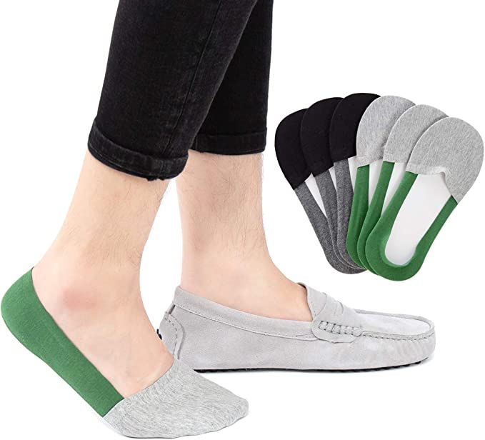 Mens No Show Socks Cotton Casual Socks with Non Slip Grip Low Cut Boat Shoe Liner