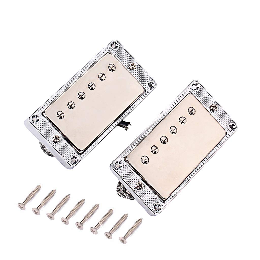 Set Of 2x Alnico V Copper Humbucker Double Pickups For LP Electric Guitar as described Chrome