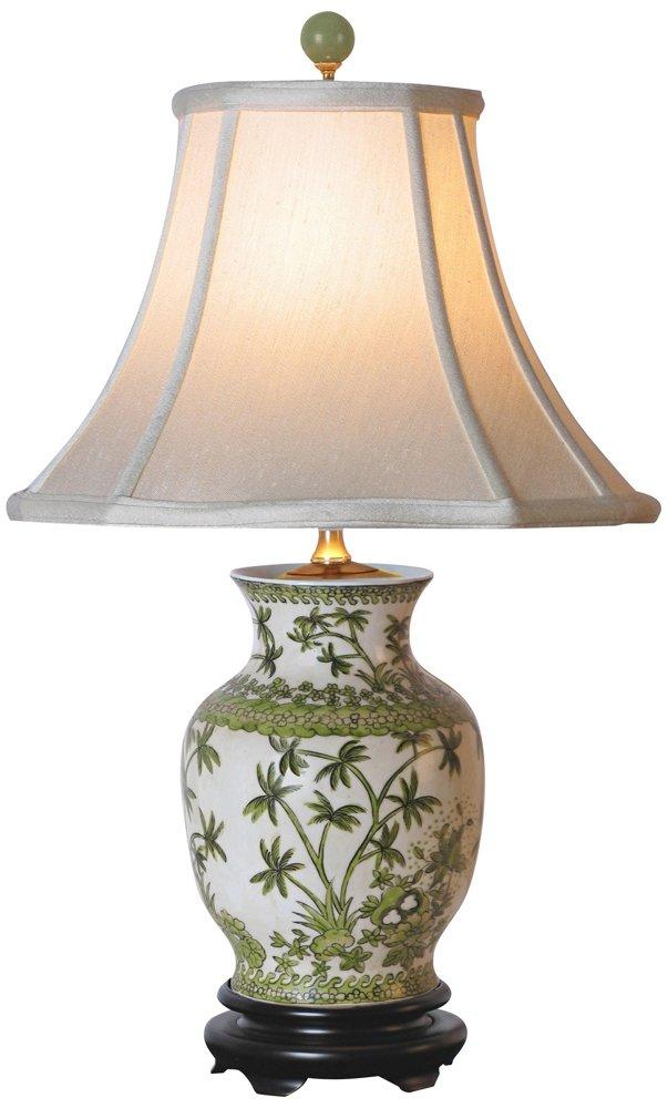 East Enterprises LPBLYS108B Palm Tree Table Lamp   White   Accent Table Lamp  Green   Amazon.com
