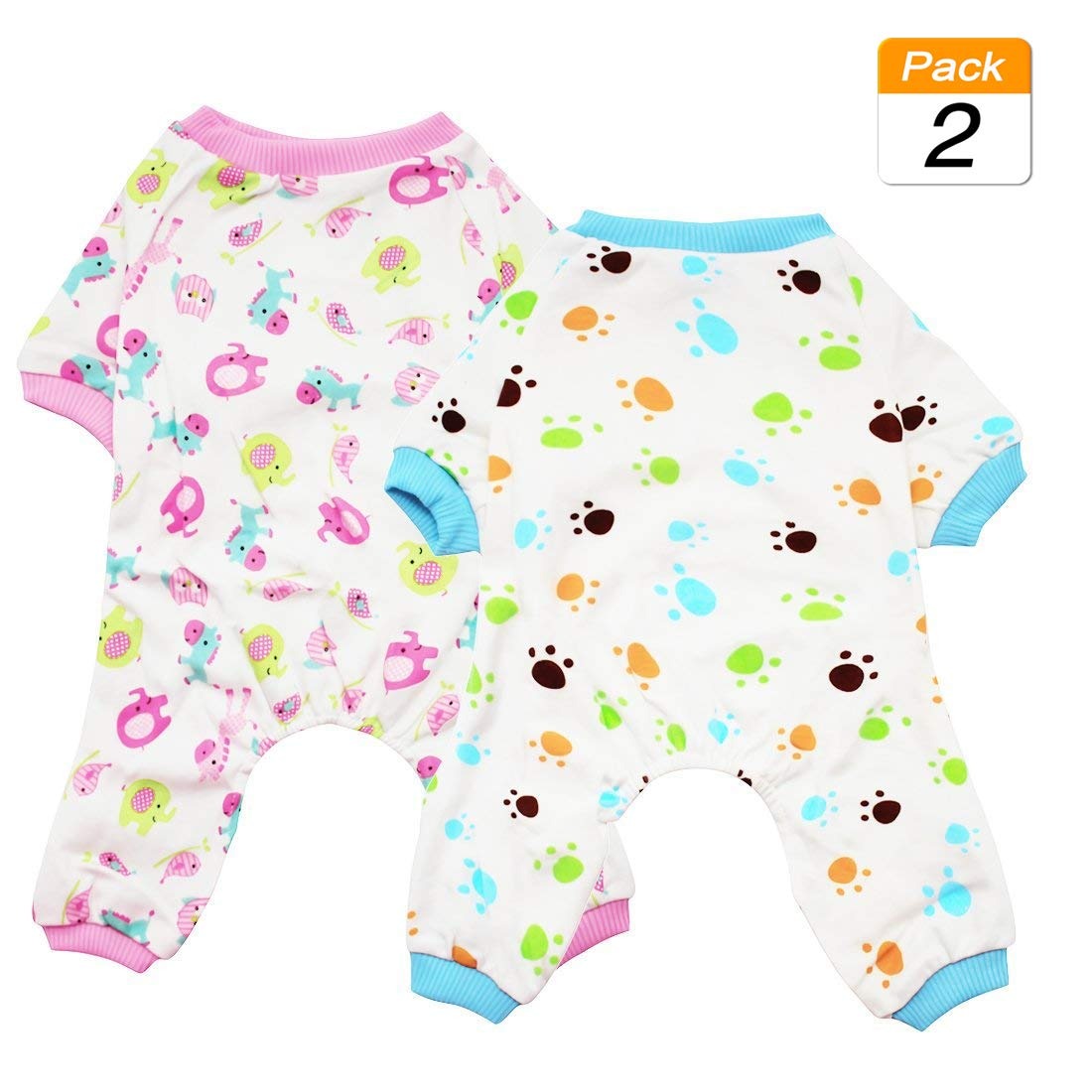 Redhorse & Paw Large Redhorse & Paw Large Scheppend 2-Pack Pet Clothes Puppy Cute Pajamas Dogs Cotton Rompers Cats Jumpsuits Cosy Apparel Dog Shirt Small Canine Costumes, Redhorse & Paw L