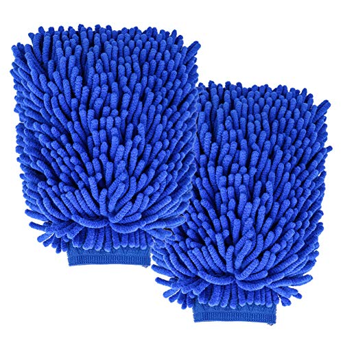 2 Pack Ultimate Car Wash Mitt, Double Sided Chenille Microfiber Wash Mitt, No Lint Anti Scratch Dust Cleaner, Faster Cleaning High Water Absorption Wash Gloves with Elastic Band
