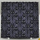 Tanger Mida Haunted Mansion Halloween Custom HD Printing Waterproof Fabric Shower Curtain -12 Holes Bathroom Curtains (66x72 Inch)