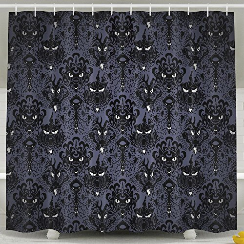 Halloween Haunted Mansion (Tanger Mida Haunted Mansion Halloween Custom HD Printing Waterproof Fabric Shower Curtain -12 Holes Bathroom Curtains (66x72 Inch))