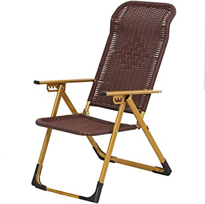 Wicker Chair Recliners Lunch Break Folding Chair Office Siesta Chair Household Balcony Lazy Rocking Chair Home or Outdoor Portable Armchair Rattan Lounge Chair Tyrant Gold
