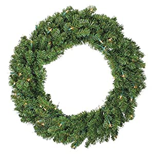 """Darice 36"""" Pre-Lit Canadian Pine Artificial Christmas Wreath - Clear Lights 60"""