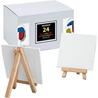 MEEDEN 24Pcs 4 × 4 Inch Mini Canvas Panels Combined with 3 by 5 Inch Beech Wood Easels Set for Paintings Craft Small…
