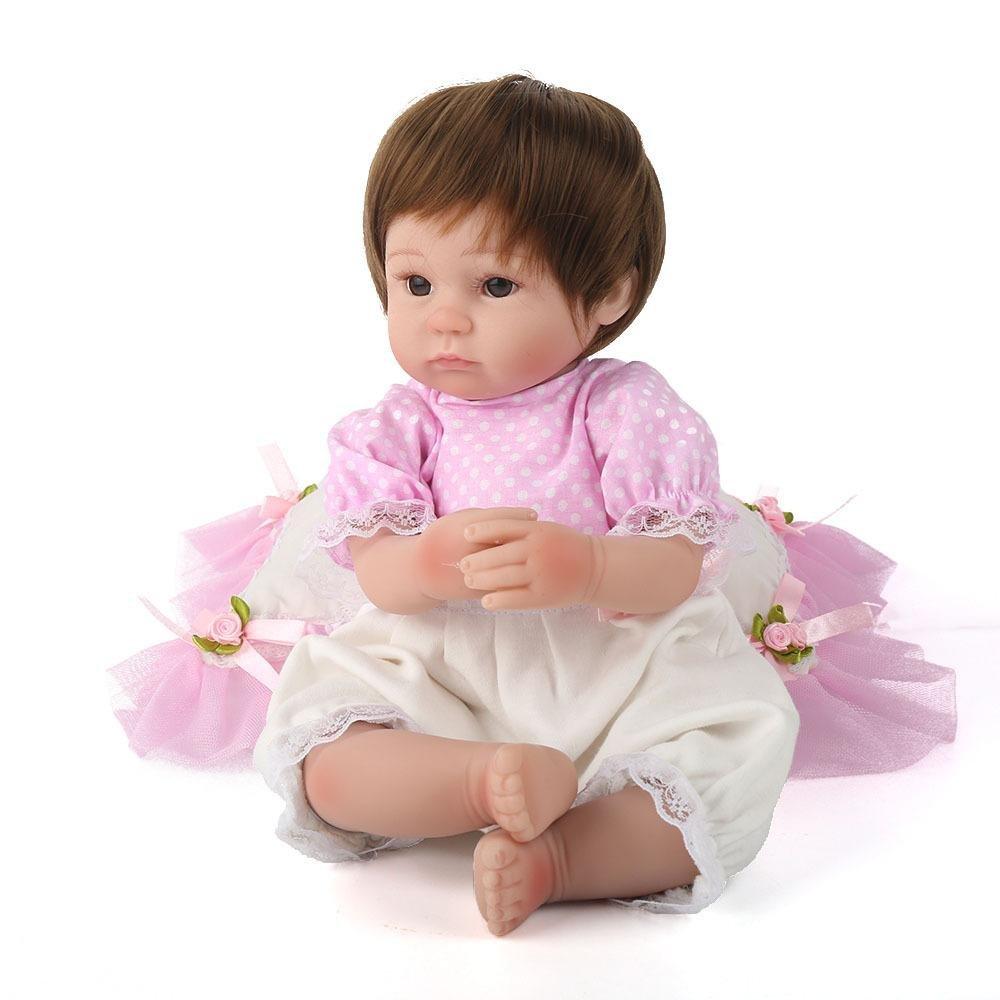LINAG Muñeca Renacida Bebé Vinilo Silicona Suave Realista Fashion Lifelike Juguetes Doll Toque Cumpleaños Jugar Casa Regalo Lindo Educación 45cm Temprana Regalo de Niña