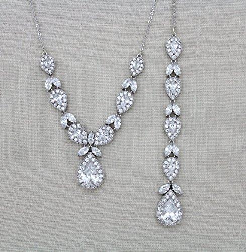 56b6c09bd Amazon.com: Bridal backdrop necklace, Crystal back necklace, Wedding jewelry:  Handmade