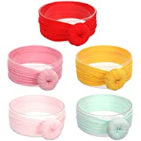 Baby Hat, ISHOWDEAL 5PCS Baby Hat with Bow Baby Caps Cotton Hat Turban Headband for Newborn Toddler and Children Suitable for Baby 12-24 Months