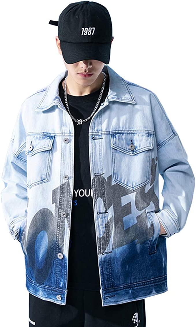 NOQINHOO デニムジャケット メンズ 個性 カジュアル ヒップホップ ゆったり ファッション アウター 大きいサイズ ストライプコート 春秋冬 通勤 通学