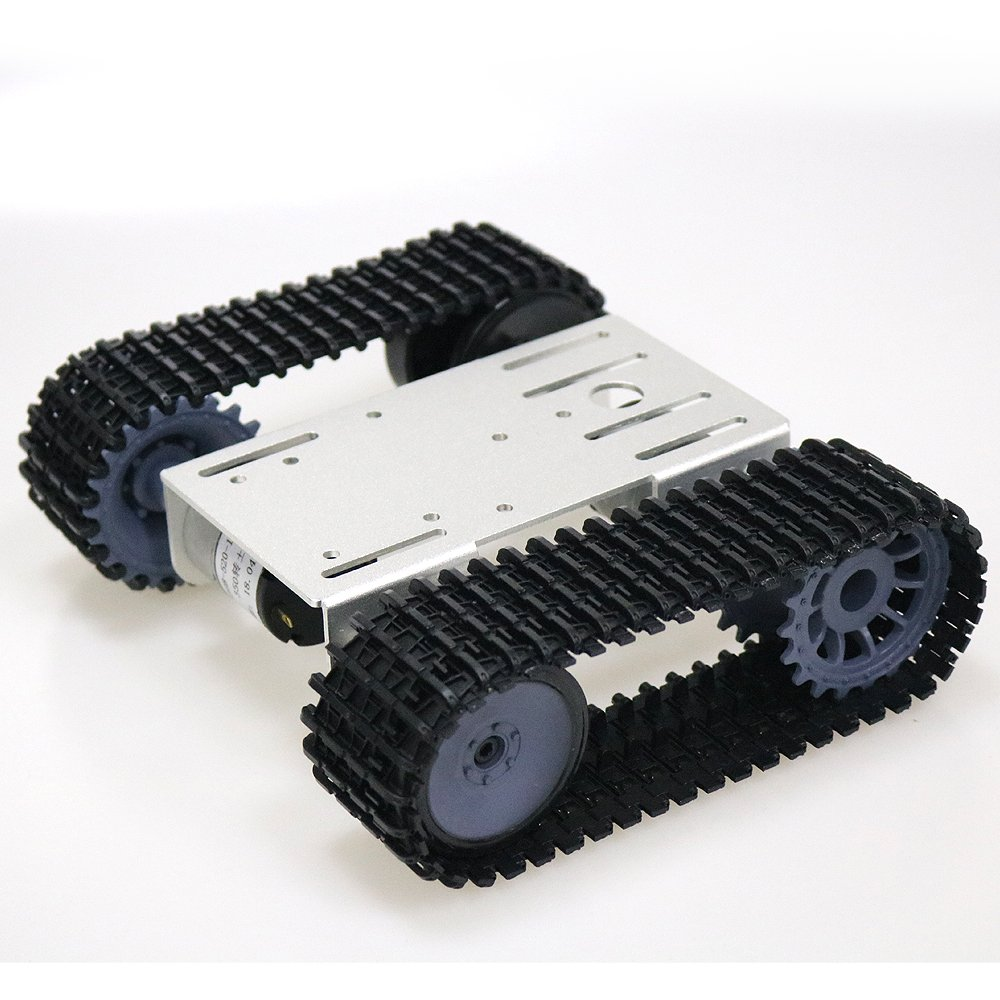 SZDoit Smart Tank Chassis Remote Control Platform with Dual DC Motor for Arduino Graduation (Silver)