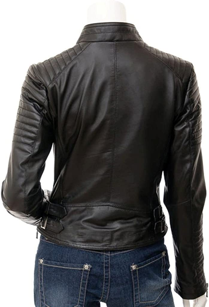 New Womens Genuine Sheep Leather Slim Fit Biker Jacket LFW400
