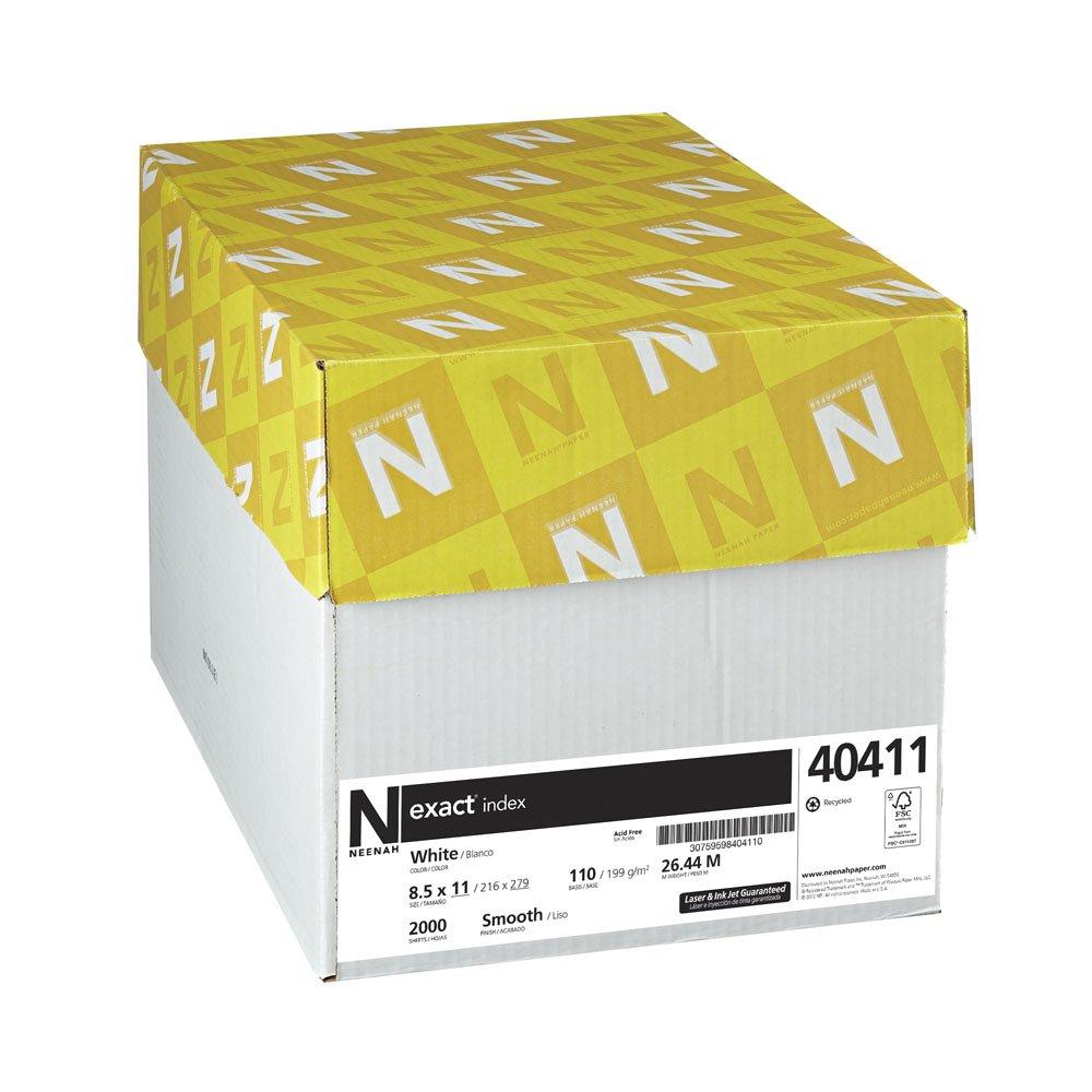 "Exact Index Cardstock, 8.5"" x 11"", 110 lb/199 gsm, White, 94 Brightness, 2000 Sheets (40411)"